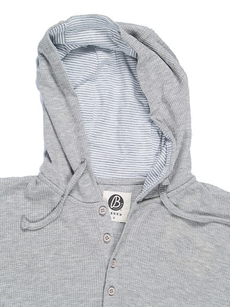 Beren LA Light Thermal Hoodie with Striped Hood Gray