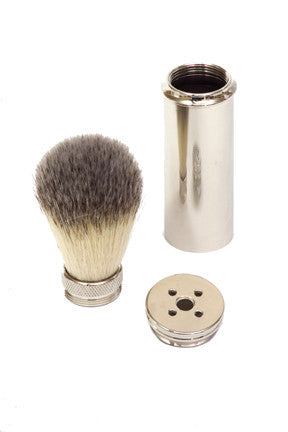 Brass Travel Shaving Brush Synthetic Bristle