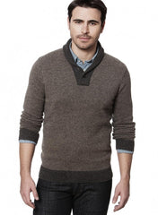 Wool Button Shawl Collar Sweater Charcoal Gray