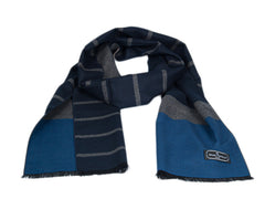 100% Silk Knit Double Sided Colorblock and Stripe Scarf Blue