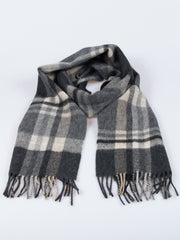 100% Wool Double Sided Fringed Plaid Scarf Black