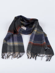 100% Wool Double Sided Fringed Plaid Scarf Blue