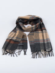 100% Wool Double Sided Fringed Plaid Scarf Brown