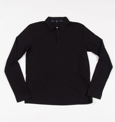 Benson Long Sleeve Button Down Polo Black