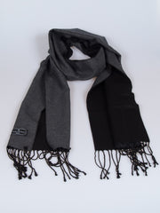 100% Silk Knit Double Sided Fringed Scarf Black