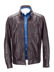 Faux Leather Jacket Brown