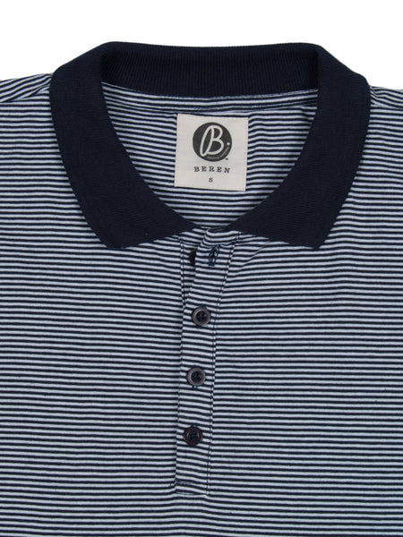 Beren LA Striped Polo Tee Navy