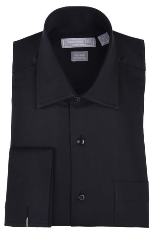 Christopher Lena Regular Fit French Cuff Wrinkle Free Dress Shirt Black