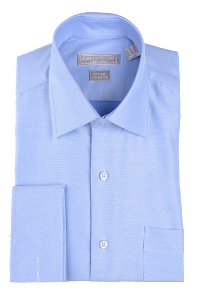 Christopher Lena Regular Fit French Cuff Wrinkle Free Dress Shirt Powder Blue