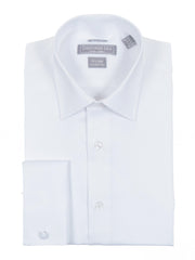 Christopher Lena Cotton Twill Wrinkle Free Slim Fit French Cuff Dress Shirt White