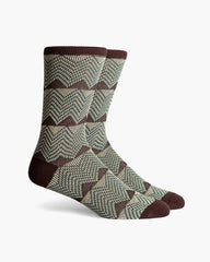 Richer Poorer Cordon Double Cylinder Knit Cotton Socks Brown