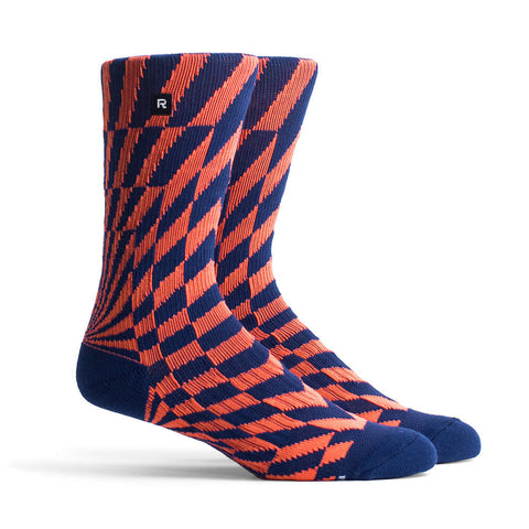 Richer Poorer Distortion Navy Orange Athletic Socks