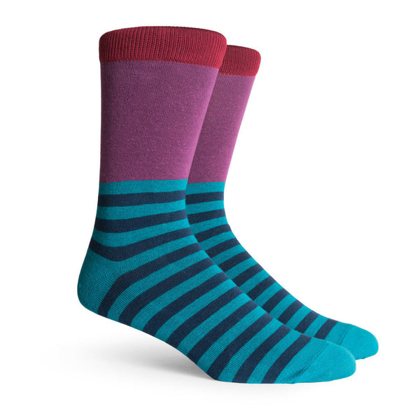 Richer Poorer Holden Half-Stripe Socks Red/Purple
