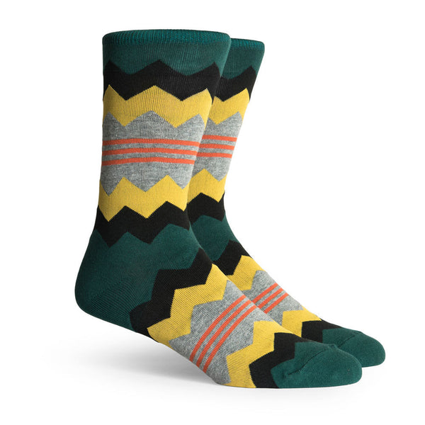 Richer Poorer Honcho Zig Zag Socks Green