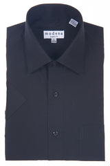 Modena Basic Short Sleeve Dress Dress Shirt Black