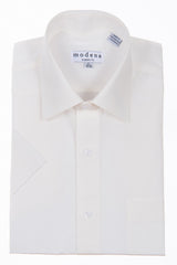 Modena Basic Short Sleeve Dress Dress Shirt Eggshell