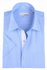 Modena Basic Poplin Short Sleeve Dress Shirt with Pocket Powder Blue