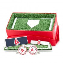 Boston Red Sox Officially Licensed Cufflinks Money Clip Tie Bar Gift Set