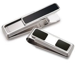 M-Clip Stainless Steel Two-Pocket Money Clip Black w Enamel Inlay