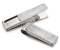M-Clip Stainless Steel w Etched Chevron Inlay Money Clip