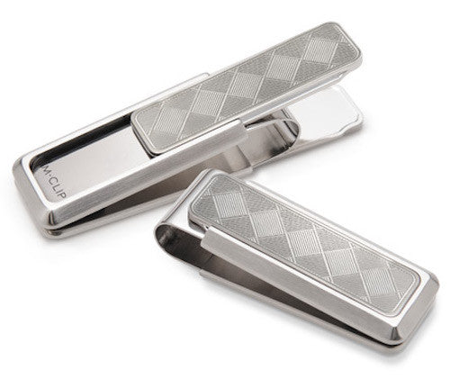 M-Clip Stainless Steel w Etched Herringbone Inlay Money Clip