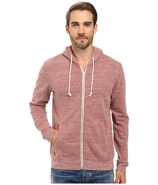 Threads 4 Thought Triblend Zip Front Hoodie Brick Red