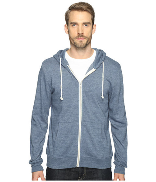 Threads 4 Thought Triblend Zip Front Hoodie China Blue
