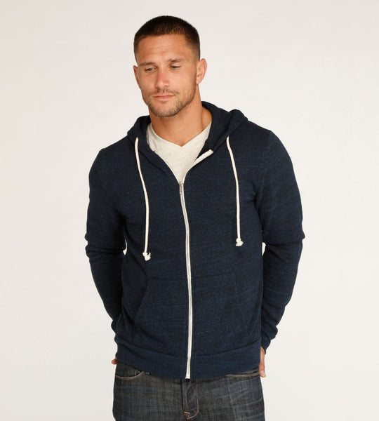 Threads 4 Thought Triblend Zip Front Hoodie Midnight Blue