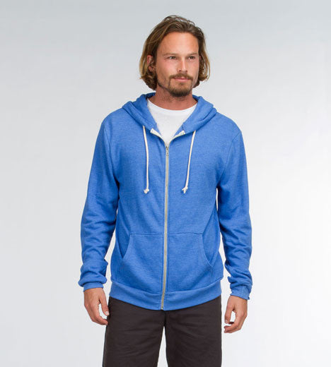 Threads 4 Thought Triblend Zip Front Hoodie Victoria Blue