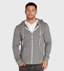 Threads 4 Thought Triblend Zip Front Hoodie Heather Grey