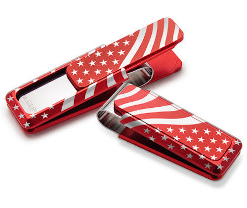 M-Clip Ultralight Anodized Alumnium Money Clip Red w/Laser Etched Flag