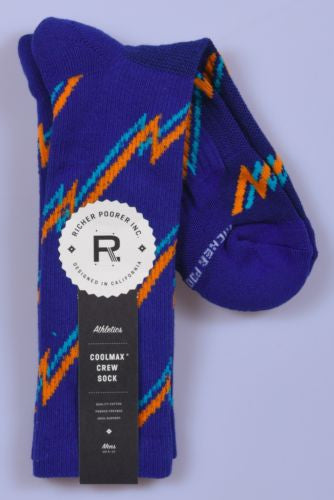 Richer Poorer Whiplash Athletic Socks Indigo/Yellow