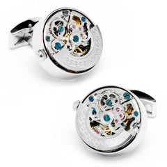 Ox and Bull Silver Kinetic Watch Movement Cufflinks with Gift Box