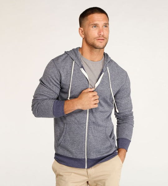 Threads 4 Thought Thermal Zip Front Hoodie Midevil Blue