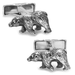 Ox and Bull Sterling Silver Bear Cufflinks with Gift Box