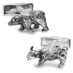 Ox and Bull Sterling Silver Bull and Bear Cufflinks with Gift Box