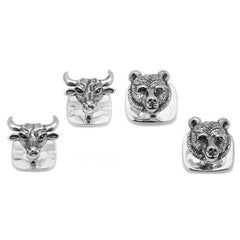 Ox and Bull Sterling Silver Bull and Bear Head Tuxedo Studs with Gift Box