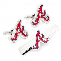 Atlanta Braves Officially Licensed Cufflinks Tie Bar Gift Set