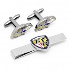 Baltimore Ravens Officially Licensed Ravens Head Cufflinks Tie Bar Gift Set