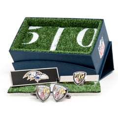 Baltimore Ravens Officially Licensed Alternate Option Cufflinks Money Clip Tie Bar Gift Set