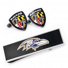 Baltimore Ravens Officially Licensed Shield Cufflinks Money Clip Gift Set