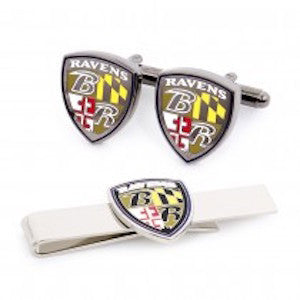 Baltimore Ravens Officially Licensed Shield Cufflinks Tie Bar Gift Set