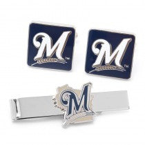 Milwaukee Brewers Officially Licensed Cufflinks Tie Bar Gift Set