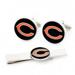 Chicago Bears Officially Licensed Cufflinks Tie Bar Gift Set