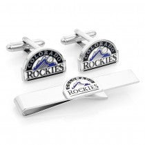 Colorado Rockies Officially Licensed Cufflinks Tie Bar Gift Set
