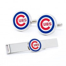 Chicago Cubs Officially Licensed Cufflinks Tie Bar Gift Set