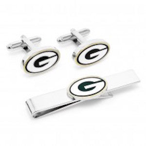 Green Bay Packers Officially Licensed Cufflinks Tie Bar Gift Set