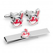 Cleveland Indians Officially Licensed Cufflinks Tie Bar Gift Set