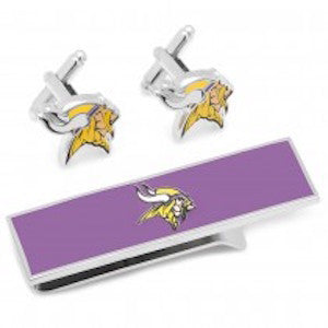 Minnesota Vikings Officially Licensed Cufflinks Money Clip Gift Set