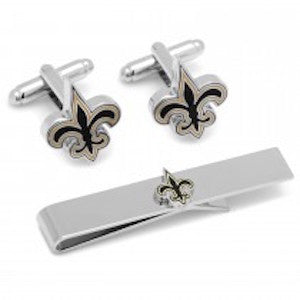 New Orleans Saints Officially Licensed Cufflinks Tie Bar Gift Set